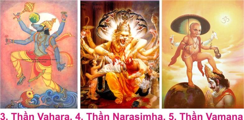 Tên vị thần : Narasimha. Hóa thân: nửa người nửa sư tử.